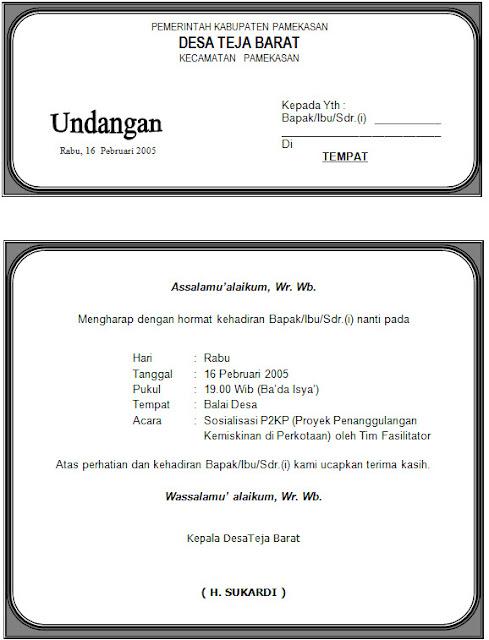 Download Contoh Undangan Silaturahmi di Masjid