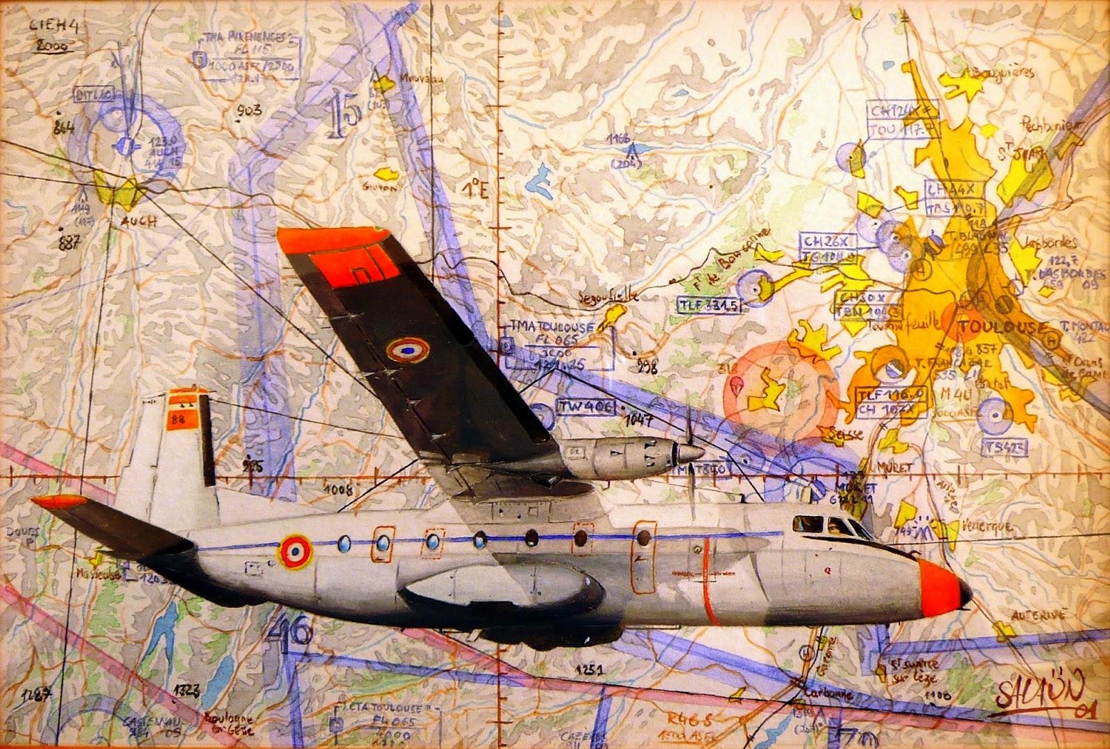 Nord 262 D Frégate BA 101 Francazal Aquarelle