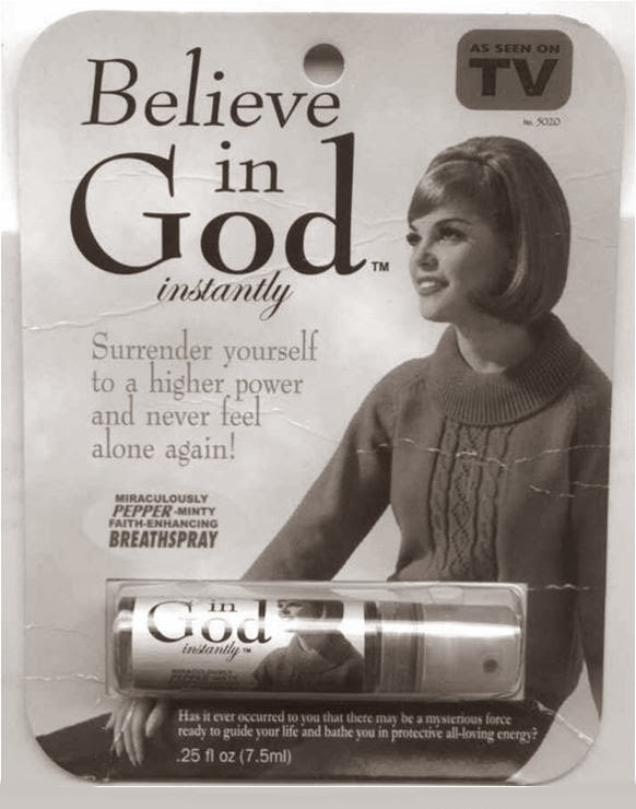 Funny Instant Believe God Spray Joke Picture - Funny Believe in God instantly miraculous pepper-minty faith-enhancing breathspray