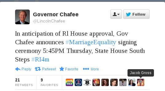 Gov. Chafee Tweet on Marriage Equality