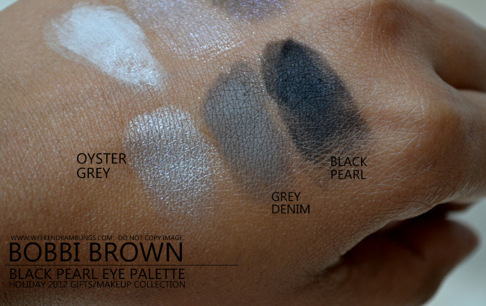 Bobbi Brown Black Pearl Eyeshadow Palette Holiday Makeup 2012 Collection Gifts Darker Indian skin Beauty blog Swatches Oyster Grey Denim