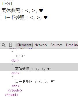 ソースコードに記載された実体参照やコード参照をブラウザで表示した状態 かつ、その部分を Chrome のデベロッパーツールのElementsのDOM エレメントツリーで表示