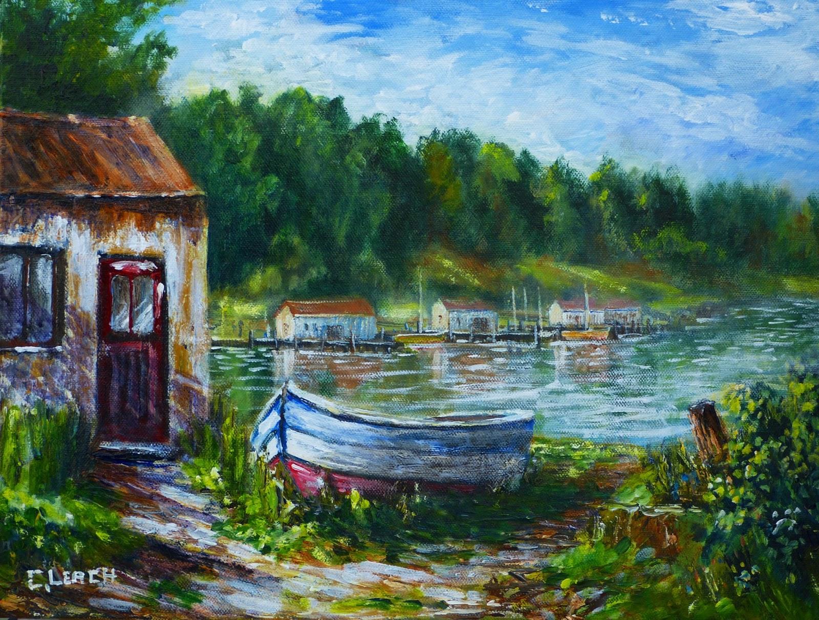 Acrylic Landscapes: Boat New Acrylic Painting