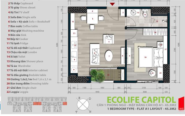 Căn hộ 45,3m2 - Ecolife Capitol
