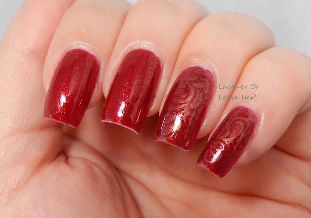 DazzleGlaze Lacquer's Persephone's Pomegranate + UberChic Beauty 5-02 stamped with Sally Hansen Copperhead