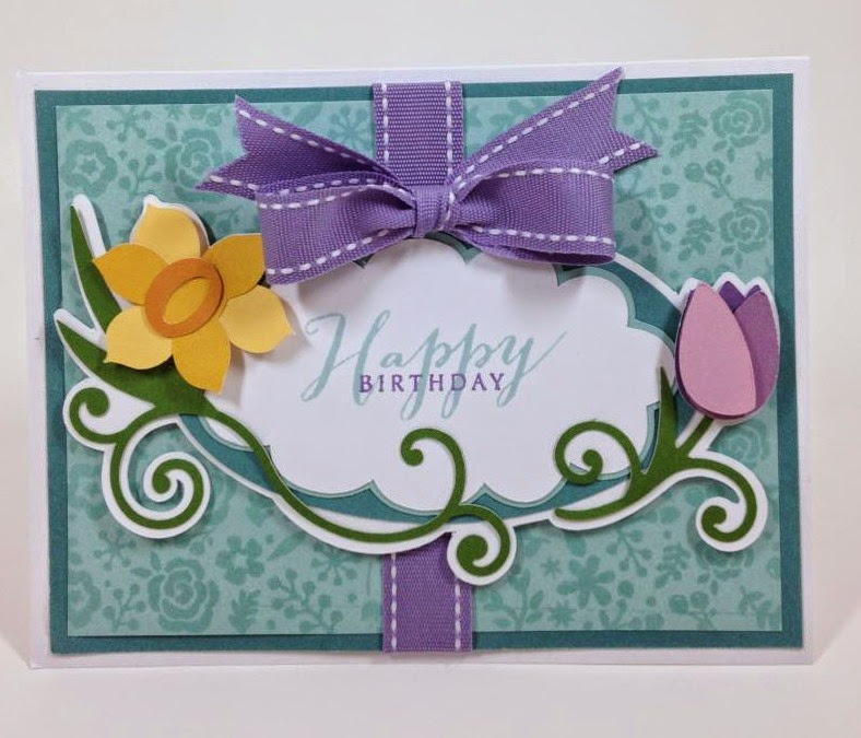 Cricut Floral Frame Birthday Card