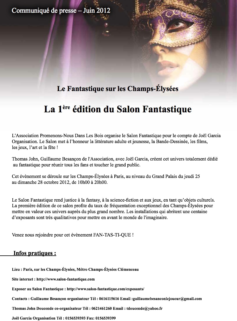 Le biblioth caire salon fantastique a paris for Salon fantastique paris