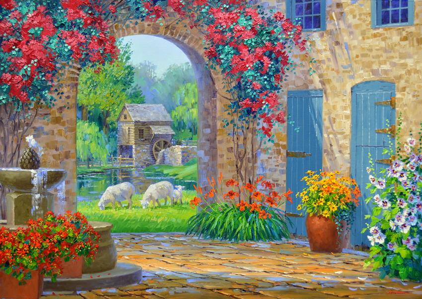 Cuadros modernos pinturas y dibujos cuadros modernos y - Oleos de jardines ...