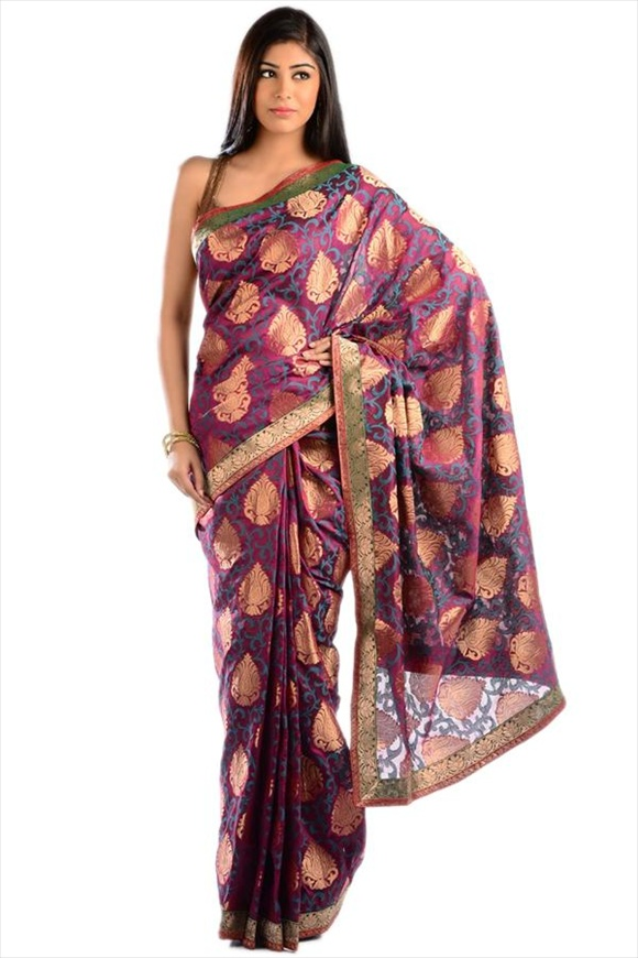 Bright Violet Chanderi Banarasi Saree