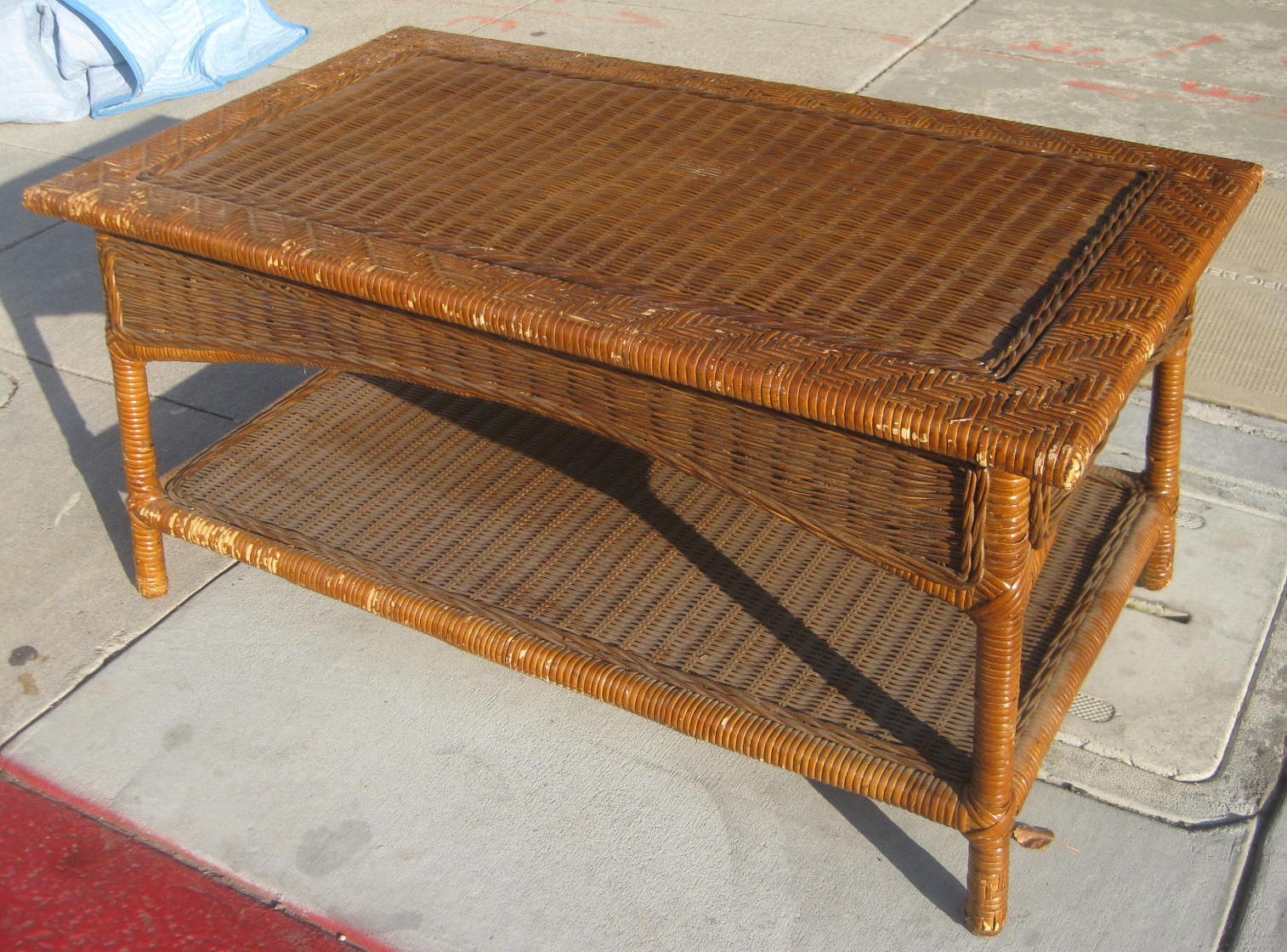 Uhuru Furniture Collectibles Sold Wicker Coffee Table