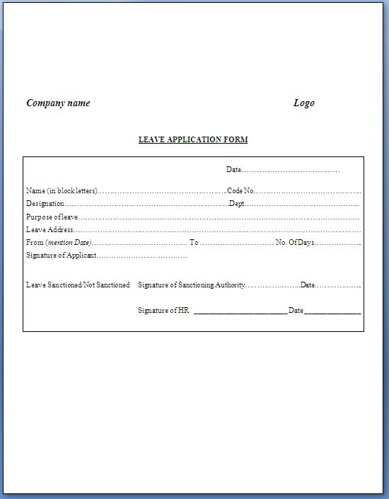 Company Leave Application Format