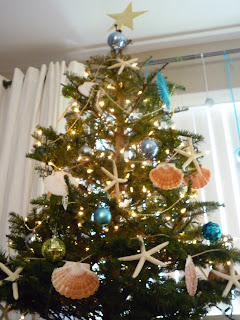 Beach Christmas tree blue and green decor decorations