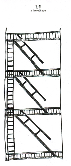 Pen and ink fire escape rendered by ©Ana Tirolese