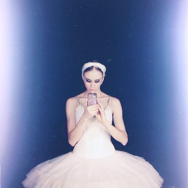 russian ballerina taking a selfie