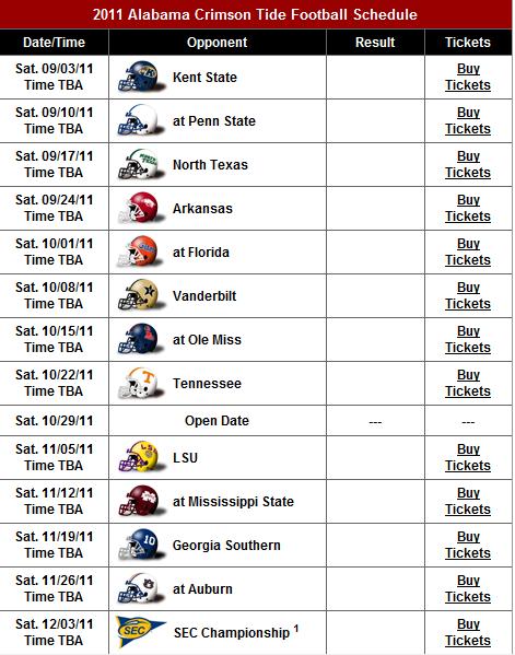 Alabama Football Schedule