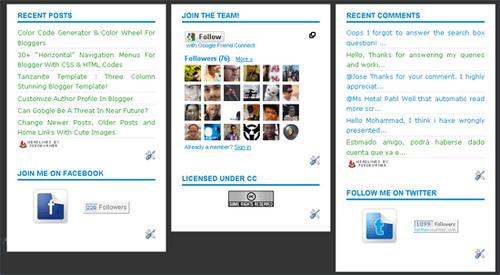 Customize Three column widget