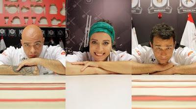 """Na foto: Bruno, Mariana e Rodrigo, finalistas do """"Hell's Kitchen"""". Crédito: Divulgação"""