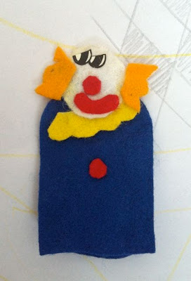 creepy clown finger puppet