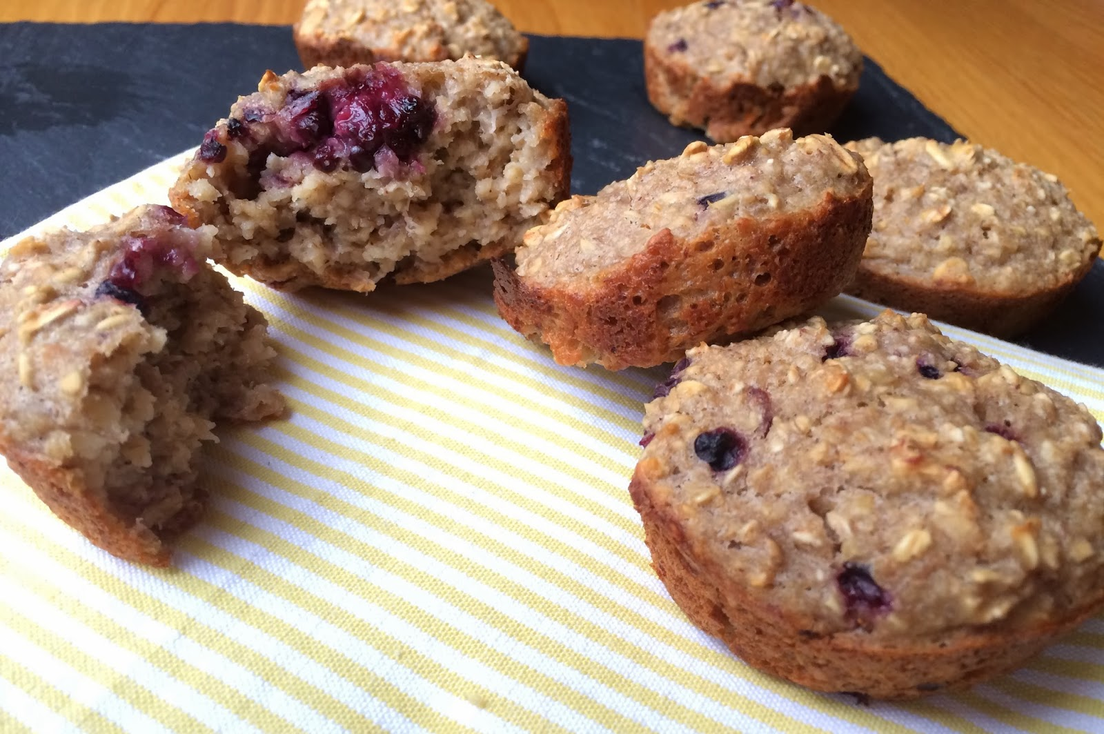 Clean Eating Banana Honey-Oat Muffins with Blackberries