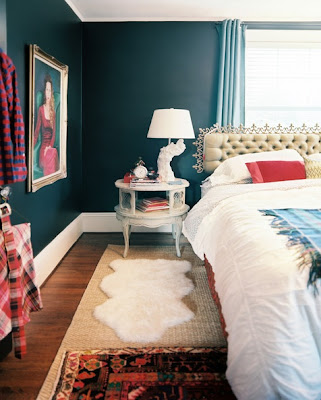 layering bedroom rugs, layering rugs in the bedroom, bright bedroom rugs