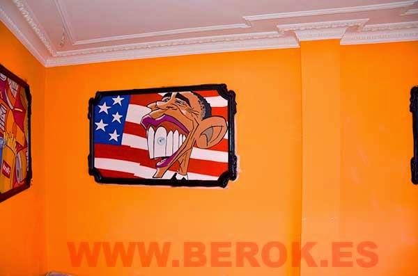 Cuadro graffiti de la caricatura de Barack Obama