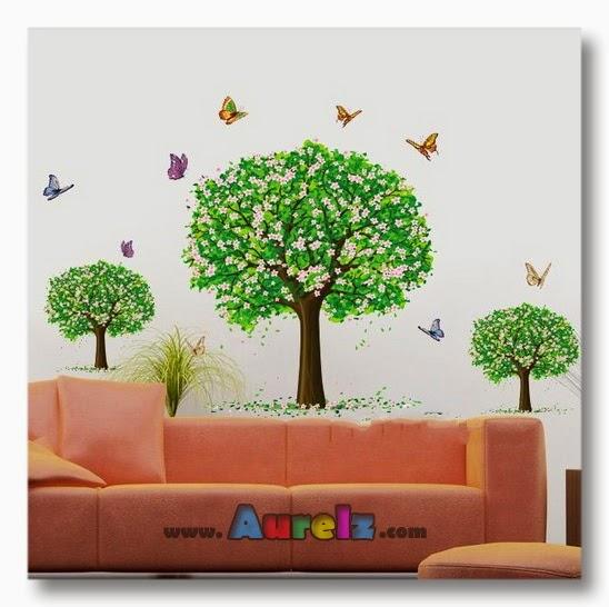 trees butterflies AY894