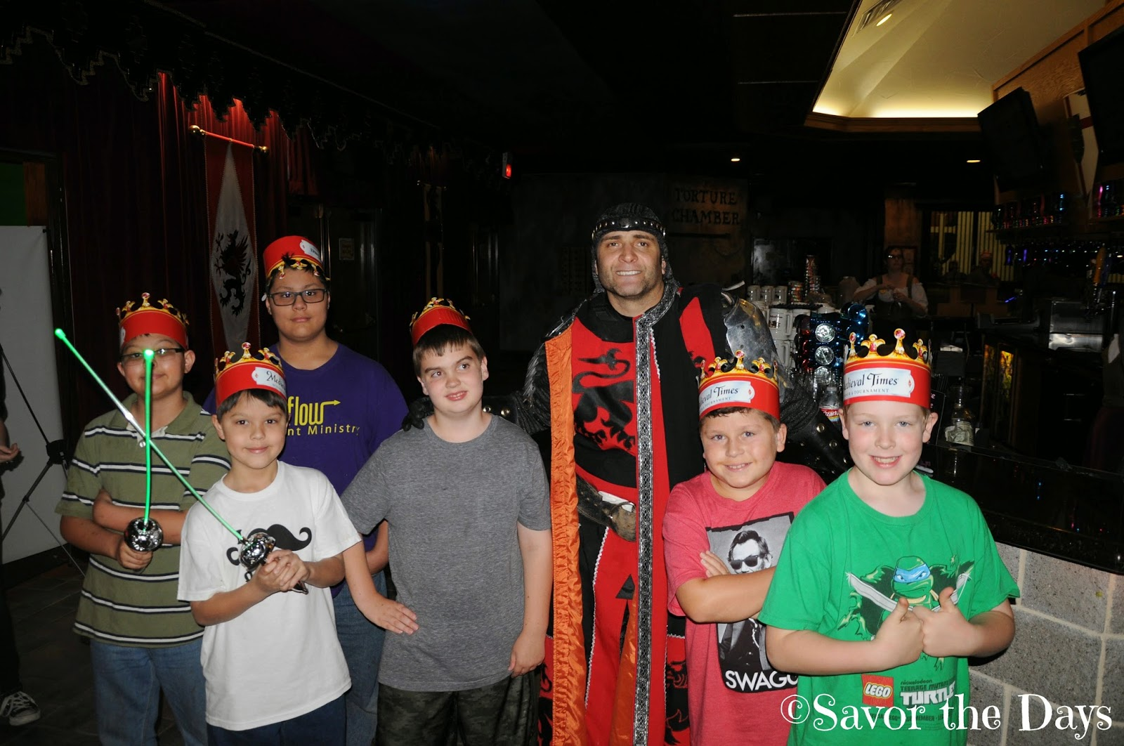 Boys and Red Knight at Medieval Times
