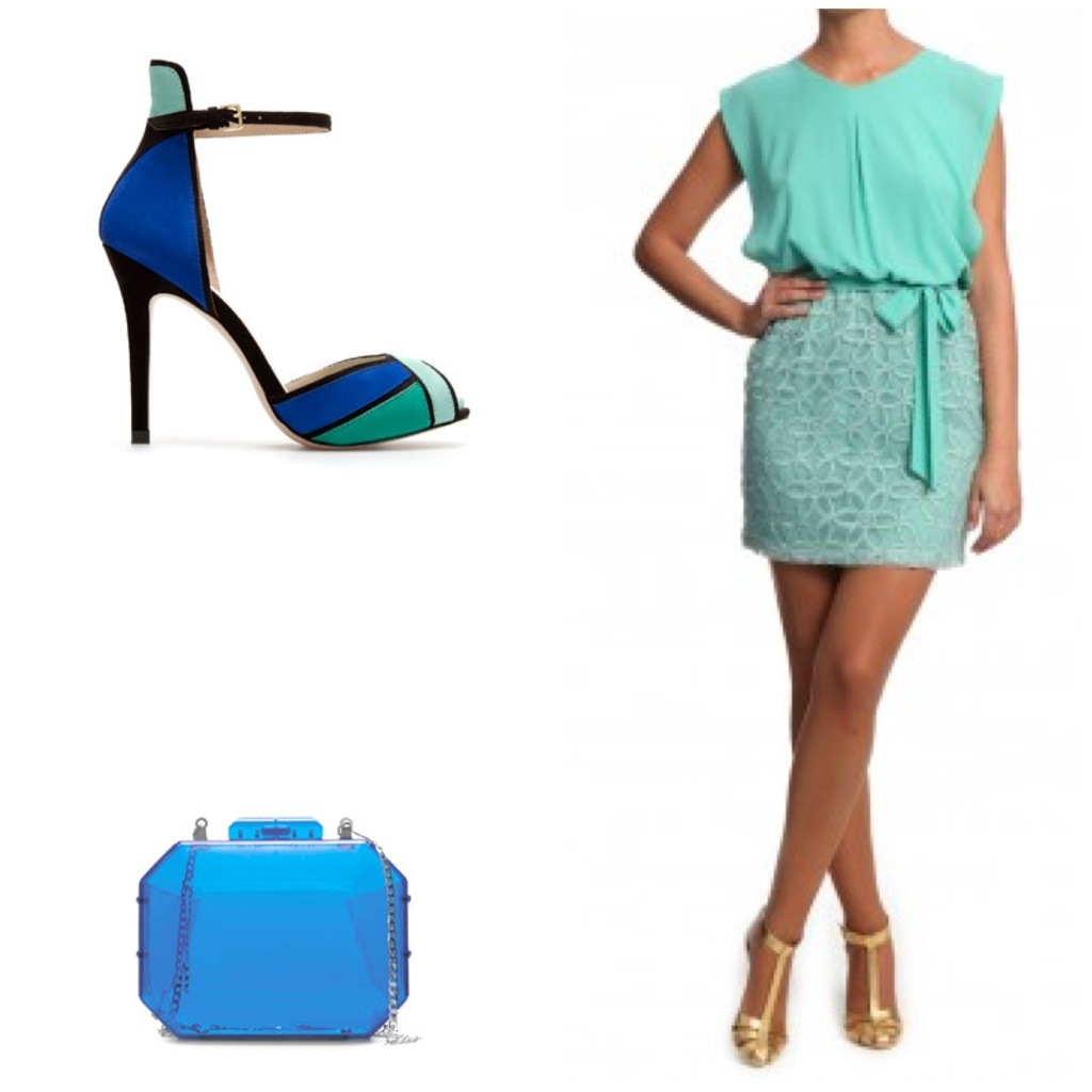 Vestido azul electrico con zapatos verdes