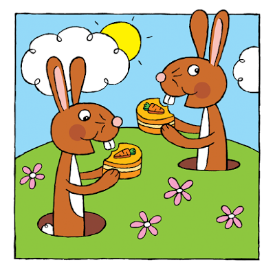 Picture of rabbits eating carrot cake from my kindle children's picture book