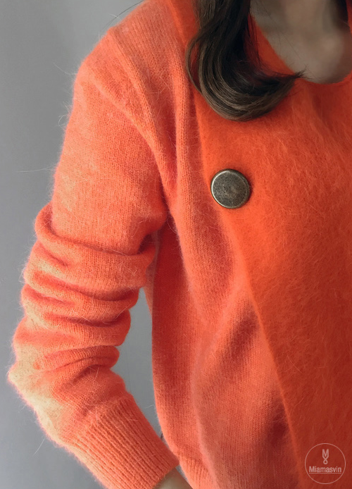 Fuzz Knit Button Accent Pullover