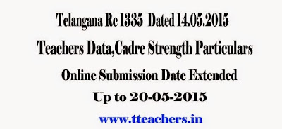 Online data entry of Teacher Information and cadre strength particulars in Telangana State ,Proc Rc 1335 Dt 14.05.2015,childinfo.tg.nic.in,Primary and Upper Primary Schools,High Schools,Teachers Data,Cadre Strength Particulars Online Submission Date Extended Date,Last date