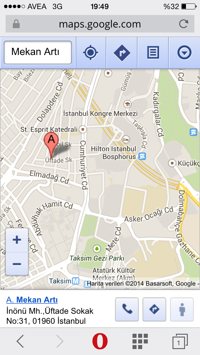 google maps mekan artı üftade sokak