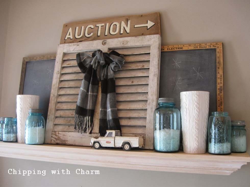 Chipping with Charm:  Simply Cozy Winter Mantel, 2014...http://www.chippingwithcharm.blogspot.com/
