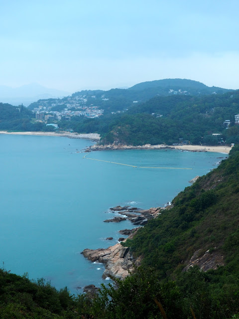 View north from the Family Trail lookout pavilion, of Yung Shue Wan and Hung Shing Yeh beach, on Lamma Island, Hong Kong