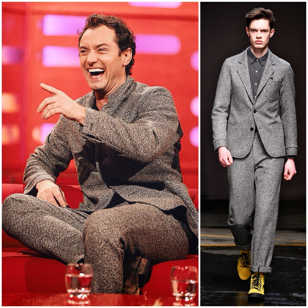 Jude Law wears Oliver Spencer Fall Winter 2014 grey speckled suit for Graham Norton show 12th December 2014 London