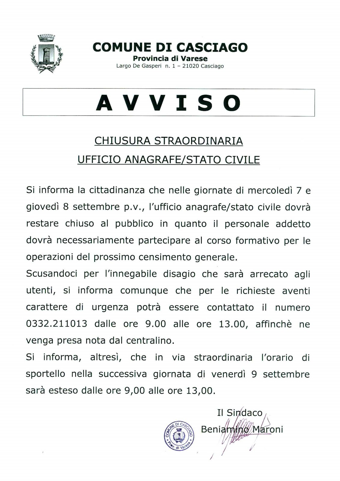 Casciago notizie chiusura ufficio anagrafe - Comune di sala consilina ufficio anagrafe ...