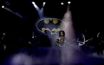 Here we see Prince performing in front of what's either a British person's open-wide mouth or the 1989 Batman logo.