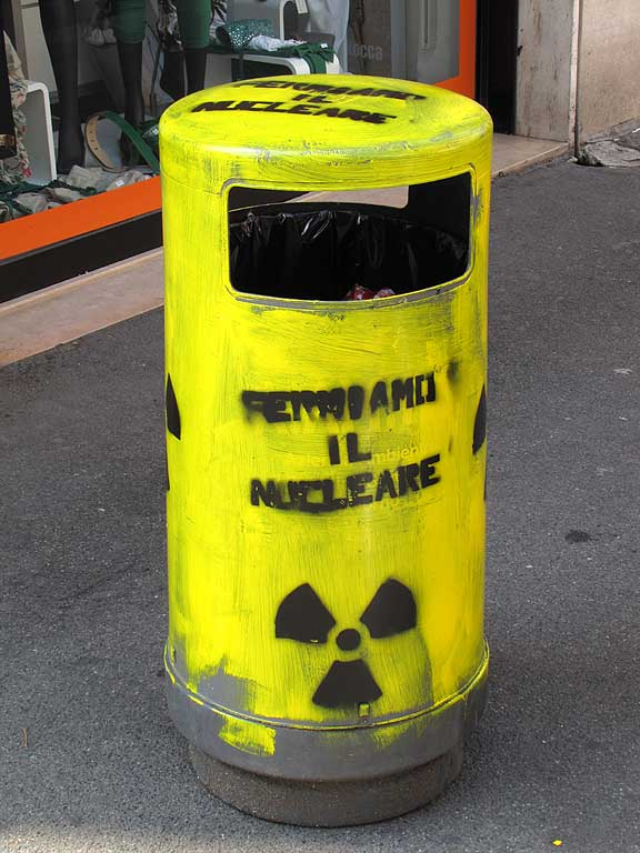 Trash bin against nuclear power, Livorno