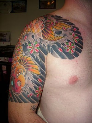 koi fish tattoo on sleeve