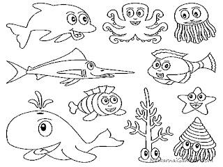Gambar Binatang Laut Untuk Diwarnai