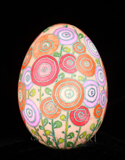 ©Katy David Friday Egg: Hot Day Hollyhocks Goose Egg pysanky