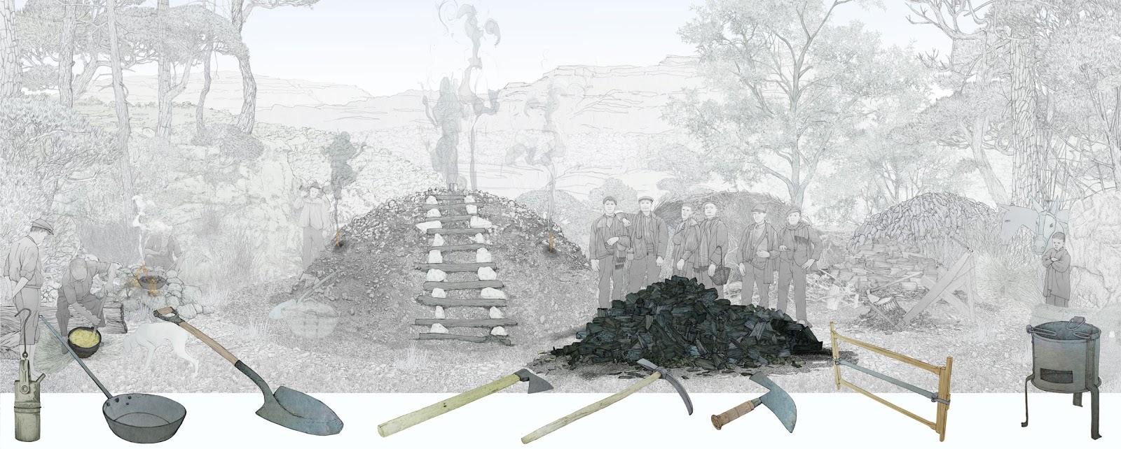 diorama en el que se muestran las carboneras, haciendo carbon vegetal, herramientas