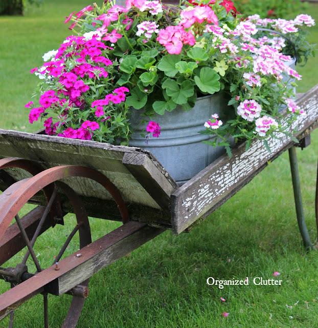 Rustic Garden Wheelbarrow & Laundry Tub Planter Ideas www.organizedclutter.net