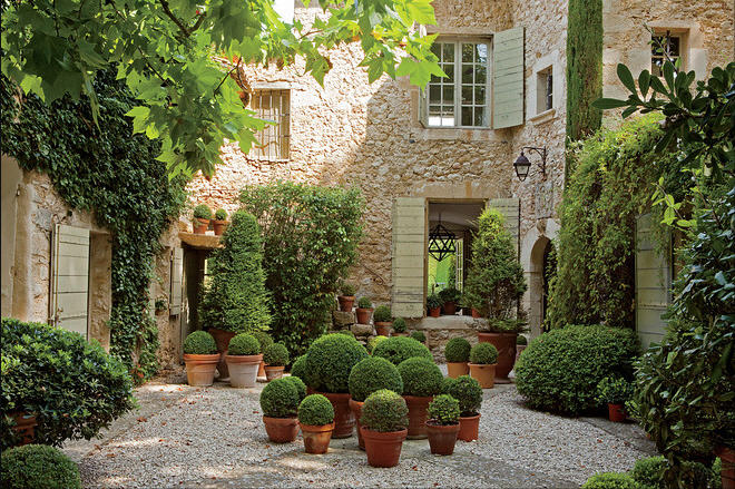 Our french inspired home french style landscaping potted for French country courtyard