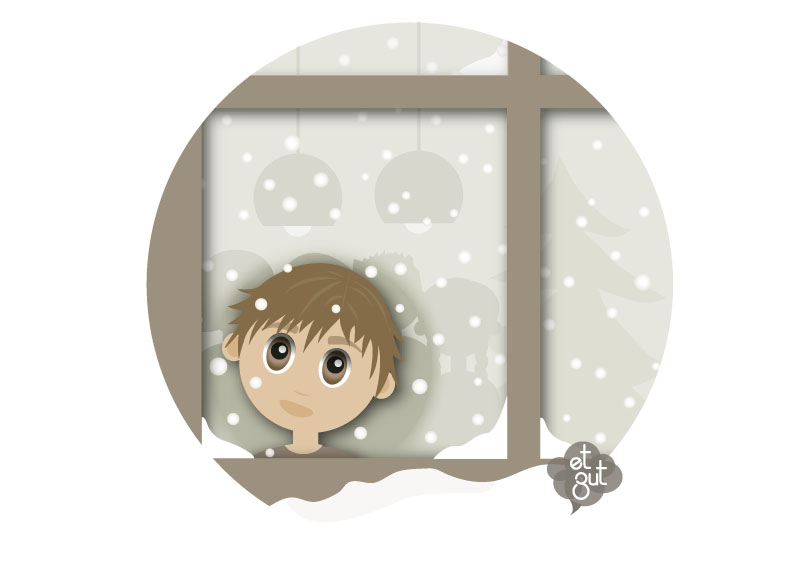 illustration jeune garçon noêl vitre