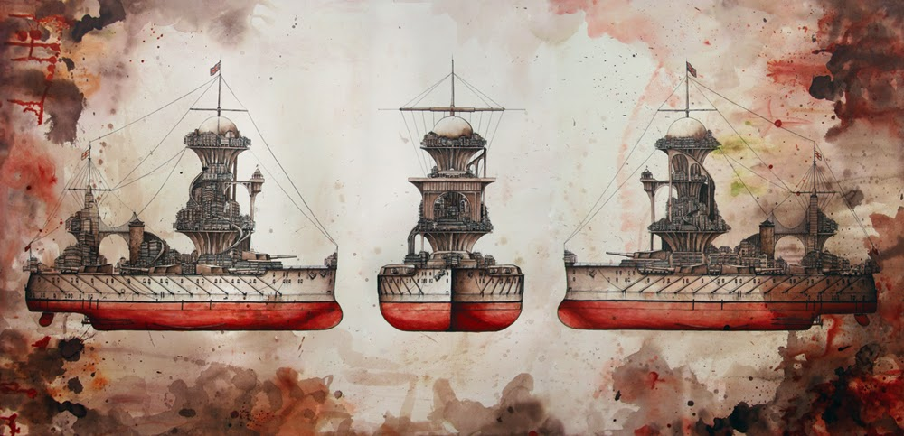 Destroyer painted by Hong Kong Artist Peter Yuill for Fading Glory Exhibition