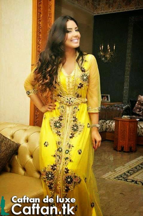 Caftan haute couture jaune perlé 2014