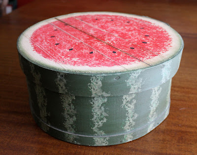 Folk Art Style Watermelon Painted Cheese Box
