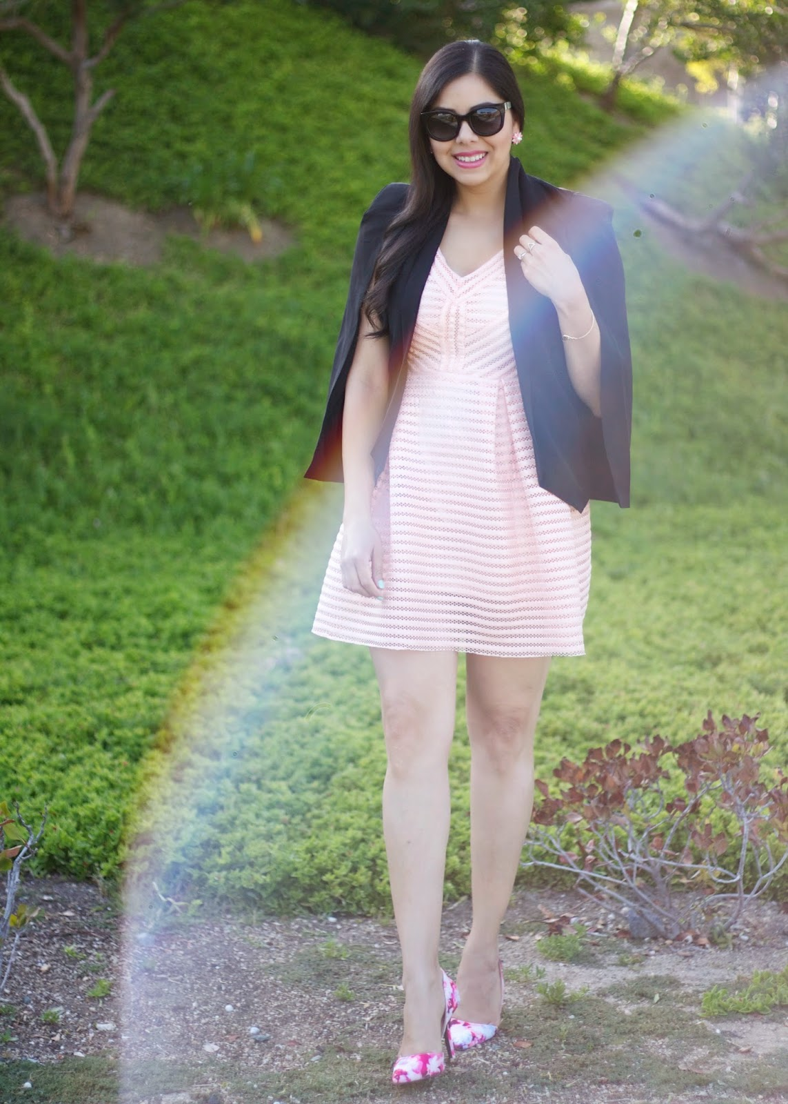 San Diego Fashion, Pink and black outfit, sheinside pink dress, pink fit and flare dress, cape blazer, black cape blazer