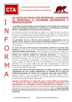 LA JUNTA DE ANDALUCÍA DETERIORA LA SANIDAD AL SOMETERLA A CRITERIOS ECONÓMICOS Y MERCANTILISTAS